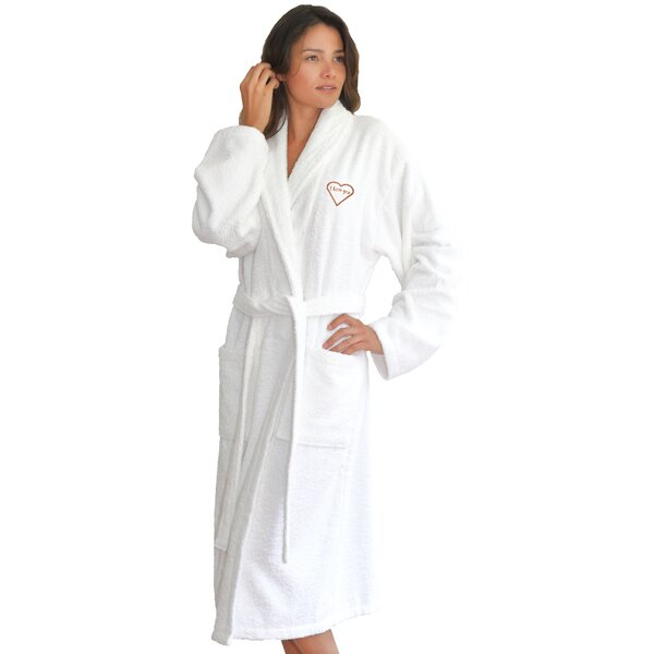 I Love You Embroidered 100% Turkish Cotton Bathrobe by The Holiday Aisle